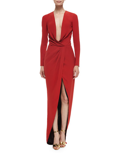 Long-Sleeve Draped Silk Wrap Gown