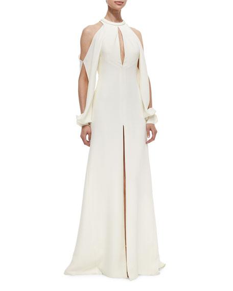 Keyhole Cold-Shoulder Crepe Gown
