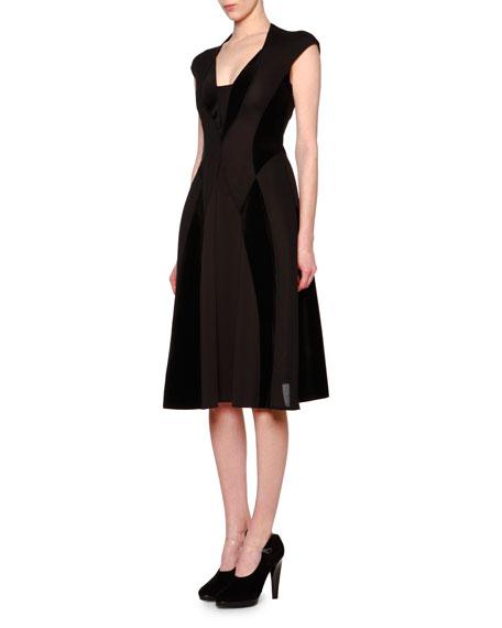 Giorgio Armani Cap-Sleeve Velvet-Inset Flare Dress