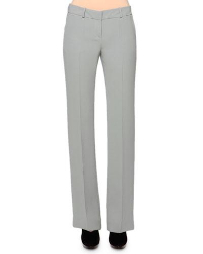 Boot-Cut Silk Cady Pants, Mint