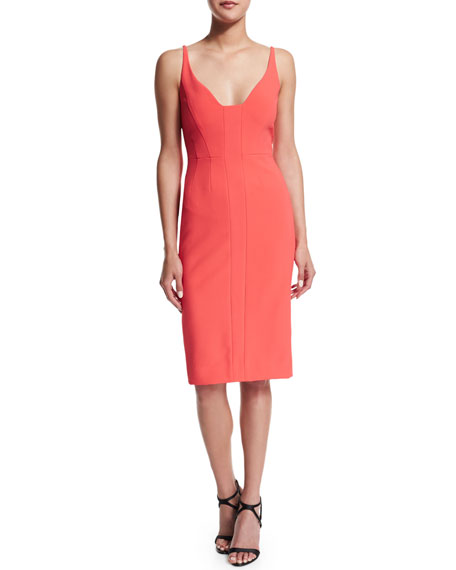 Narciso Rodriguez Sleeveless Scoop-Neck Sheath Dress, Coral
