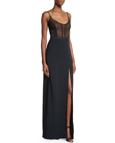 Sleeveless Lace-Bodice Gown, Black