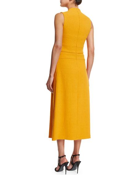 Sleeveless Banded-Bodice Midi Dress, Marigold