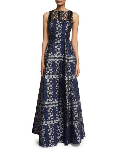Sleeveless Lace-Yoke Ball Gown, Navy