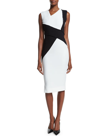 Victoria Beckham Sleeveless Asymmetric Colorblock Sheath Dress ...