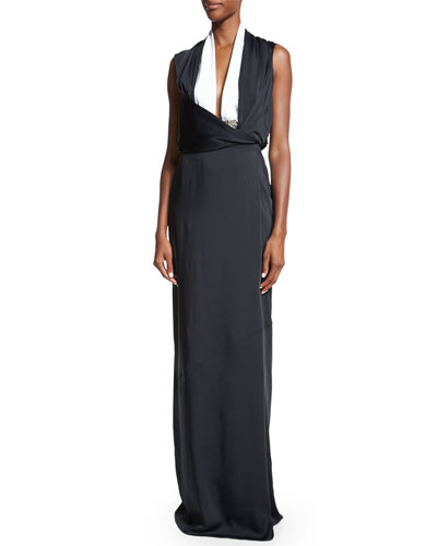 Sleeveless Two-Tone Gown, Black/White