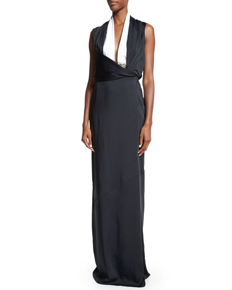 Victoria Beckham Sleeveless Two-Tone Gown, Black/White