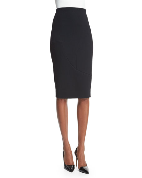 Victoria Beckham High-Waist Pencil Skirt, Black