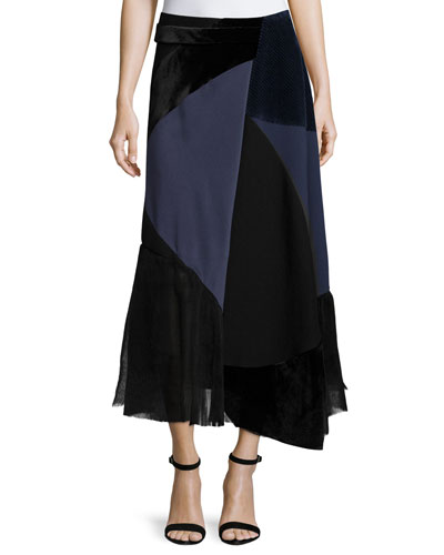 Patchwork Midi Wrap Skirt, Navy/Black