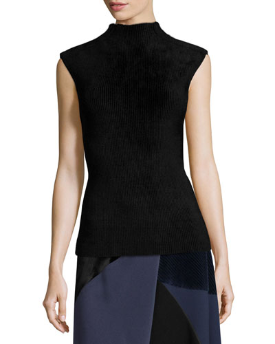 Cap-Sleeve Funnel-Neck Top, Black