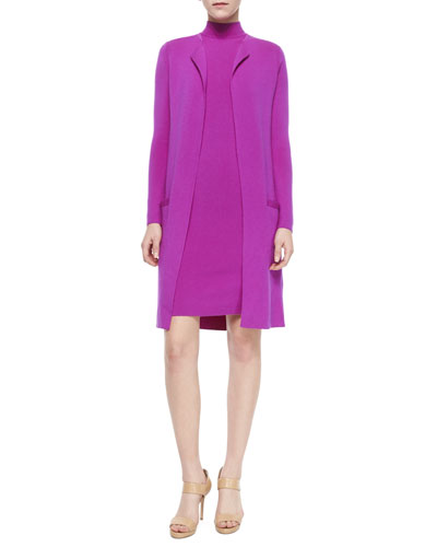 Long-Sleeve Open-Front Long Cardigan, Fuchsia