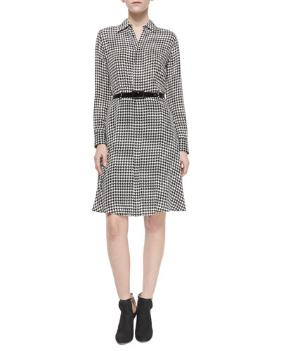 Long-Sleeve Houndstooth Belted Shirtdress, Black/Vanilla