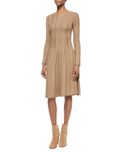 Long-Sleeve Fit-&-Flare Dress, Camel