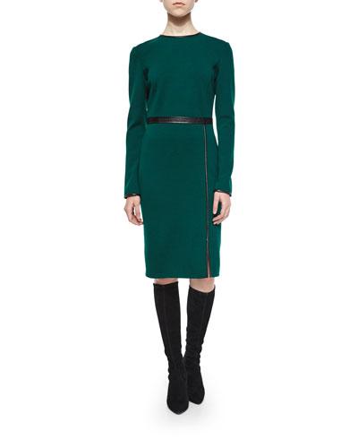 Milano Knit Jewel Neck Dress, Emerald/Caviar
