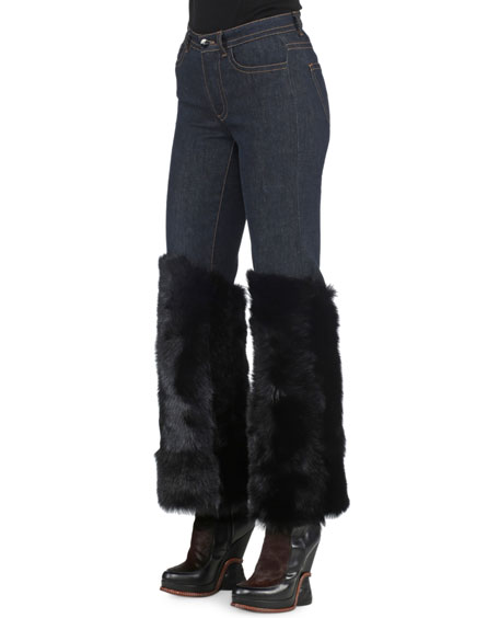 Skinny-Leg Denim Jeans with Shearling Fur Cuffs, Denim