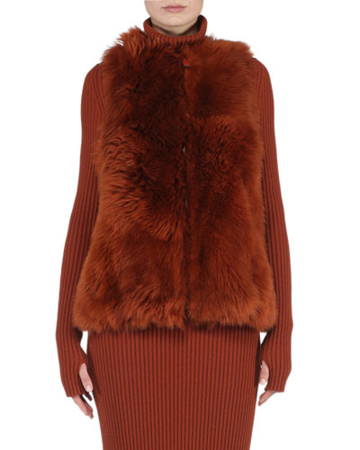 Reversible A-Line Fur Vest, Rust