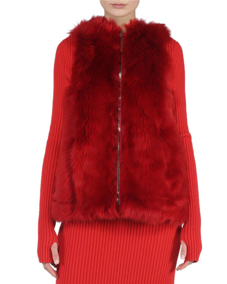 Reversible A-Line Fur Vest, Geranium Red
