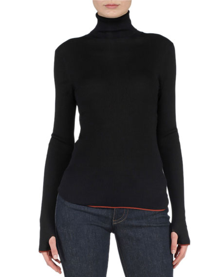 Fendi Contrast-Trimmed Ribbed Sweater