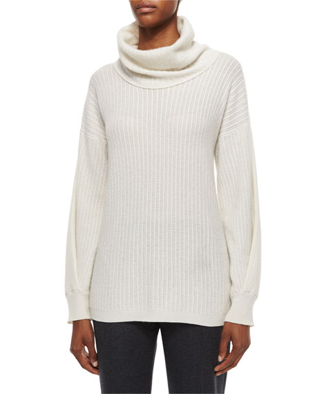 Agnona Mini Cable-Knit Cowl-Neck Cashmere Sweater