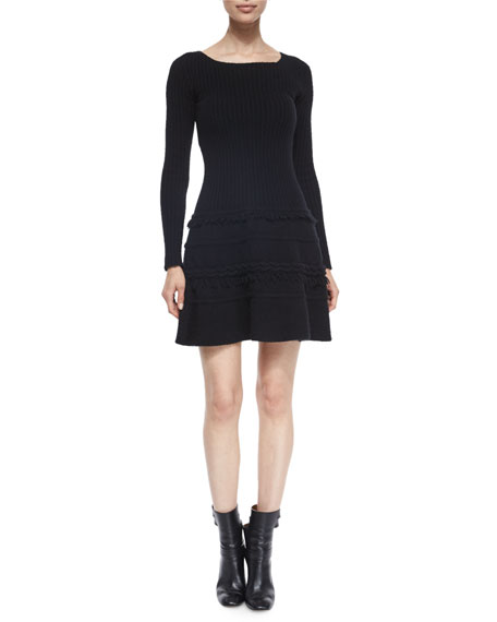Agnona Cashmere-Blend Ribbed Fringe-Trimmed Sweaterdress