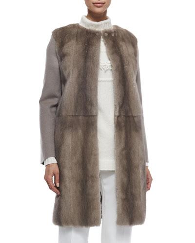 Mink Fur & Cashmere Combo Coat