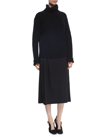 Agnona Asymmetric Pleated Wool Midi Skirt