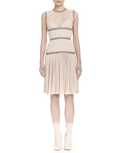 Sleeveless Contrast-Band Dress, Nude (Teint)
