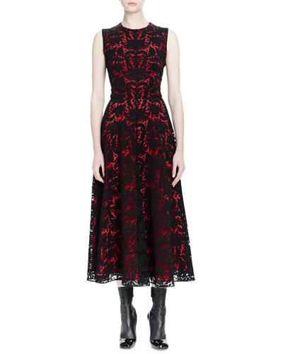 Baroque Lace Sleeveless Midi Dress