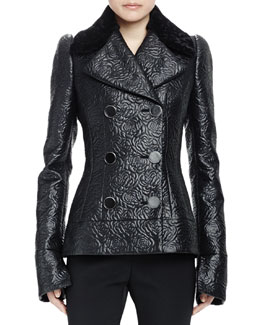 Double-Breasted Shearling Collar Jacket, Black