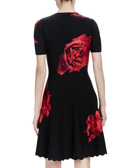 Short-Sleeve Princess Neckline Dress