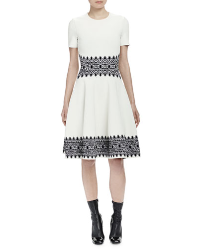 Short-Sleeve Contrast Jacquard Dress