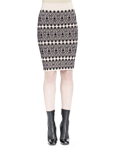 Alexander McQueen KNIT LACE JCQRD PENCIL SKIRT