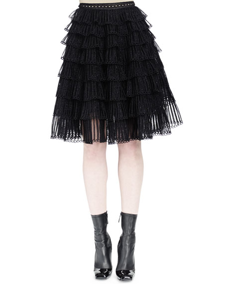 Alexander McQueen Ruched-Tiered Knit Skirt, Black Metallic