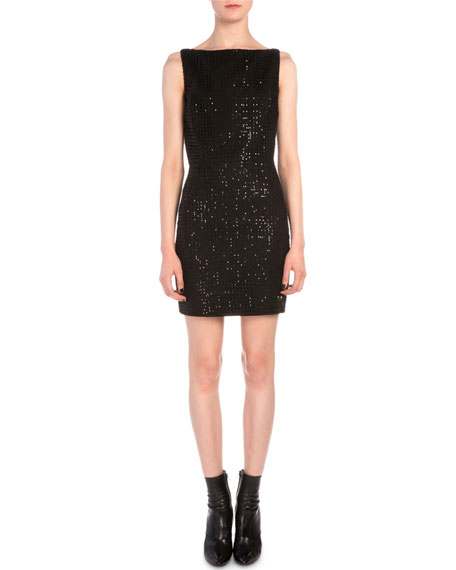Saint Laurent Grid Sequined Sheath Dress