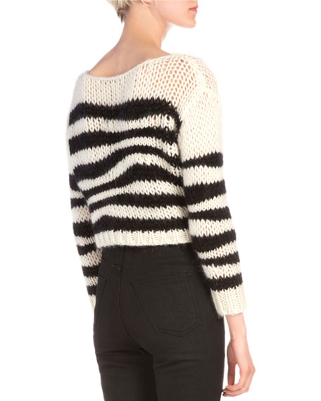 Wavy Striped Chain Knit Sweater