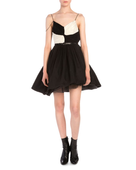 Saint Laurent Contrast-Twist Beaded-Strap Fit-And-Flare Dress