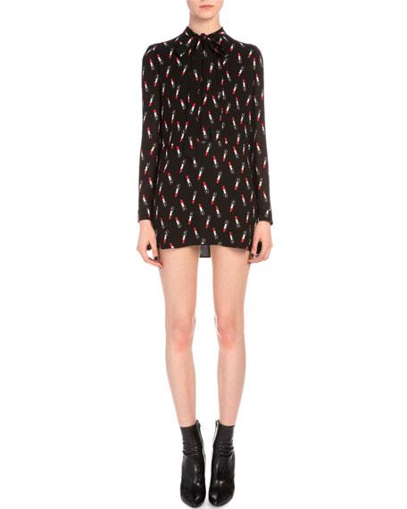 Saint Laurent Lipstick-Print Tie-Neck Mini Dress