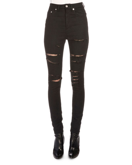 Fishnet-Inset Distressed High-Waist Jeans