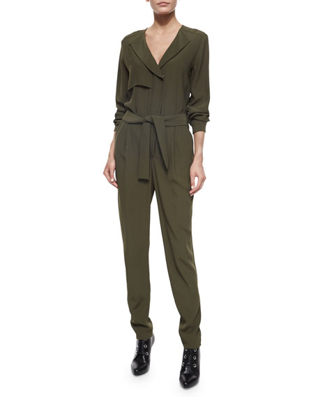 SIDE ZIP SELF BELT JUMPSUIT