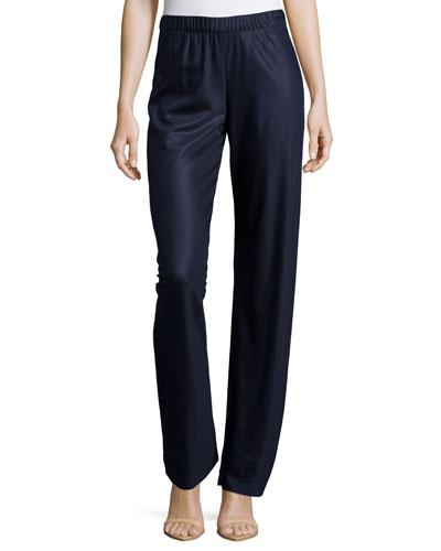 Mid-Rise Straight-Leg Shimmer Pants, Navy