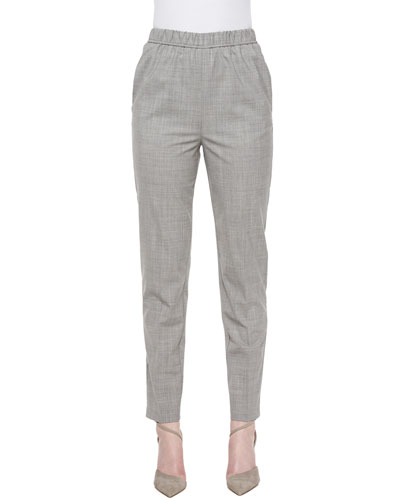 Tapered Slim-Fit Pants, Silver/Gray Melange