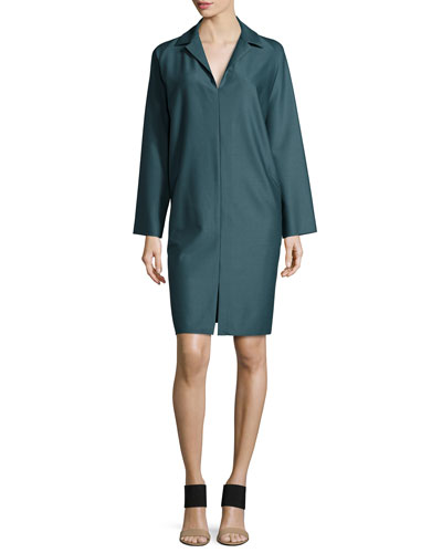 Long-Sleeve Shirtdress, Forest