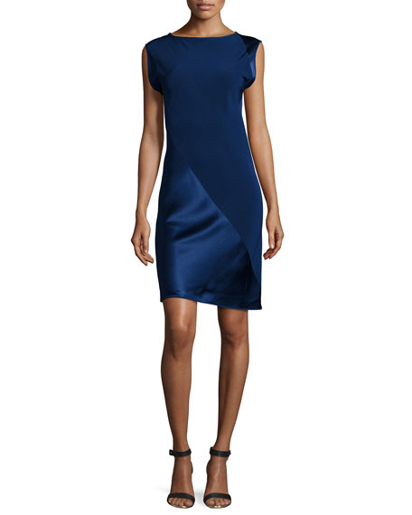 Shamask Spiral Satin & Crepe Combo Dress
