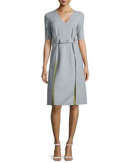 Shamask Apron Long Dress w/Godets, Silver/Avocado
