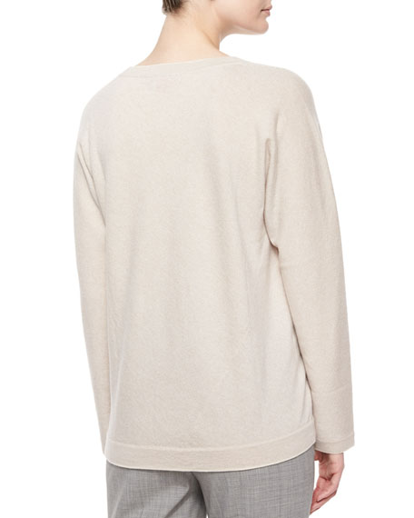Long-Sleeve V-Neck Cashmere Top, Cream/Gray