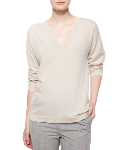 Long-Sleeve V-Neck Cashmere Top, Cream/Gray