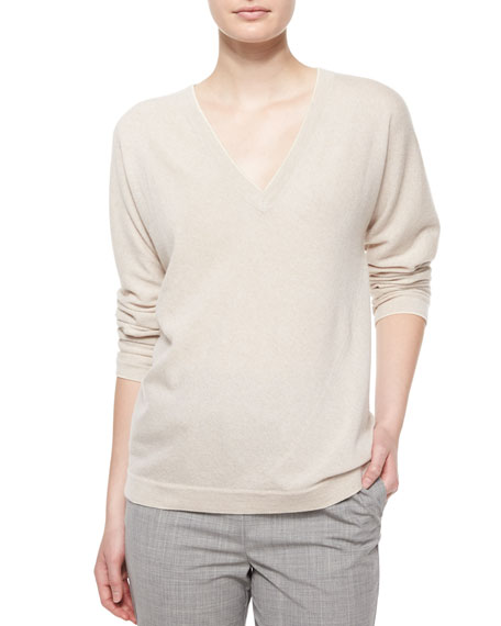 Shamask Long-Sleeve V-Neck Cashmere Top, Cream/Gray