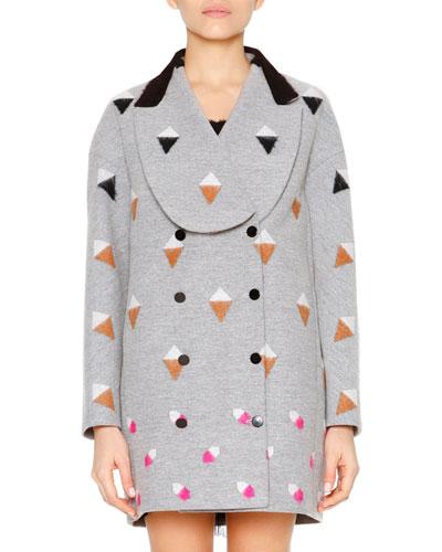 Long-Sleeve Shawl-Collar Coat, Gray