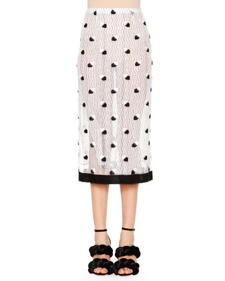 Marco De Vincenzo Allover Lace Midi Skirt, White