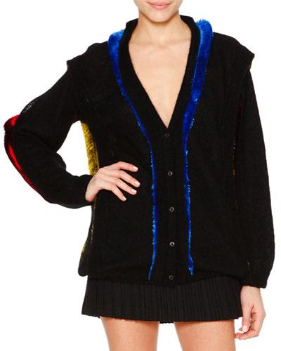 Long-Sleeve Oversize Cardigan, Black